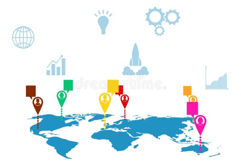 Карта мира с положениями связи ` s людей, сообщениями, социальными сетями бесплатная иллюстрация
