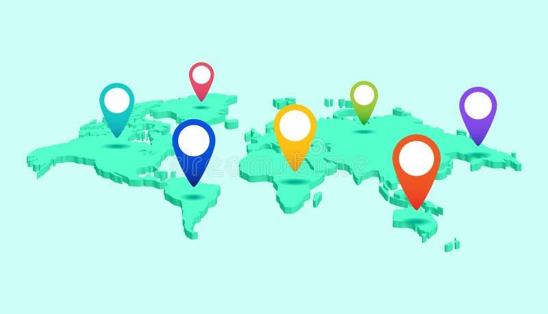 Карта мира с ярлыками указателя континентов и стран равновелико иллюстрация штока