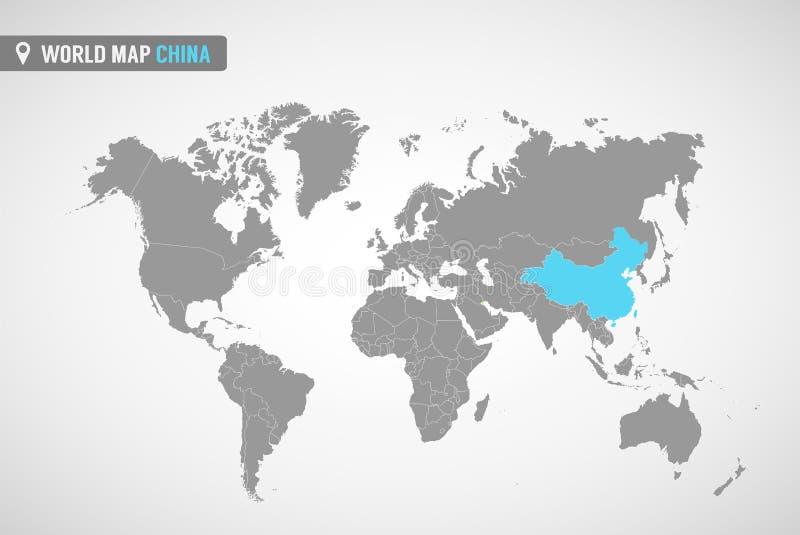 Карта мира с identication Китая Карта Китая Политическая карта мира в сером цвете Страны Азии иллюстрация вектора