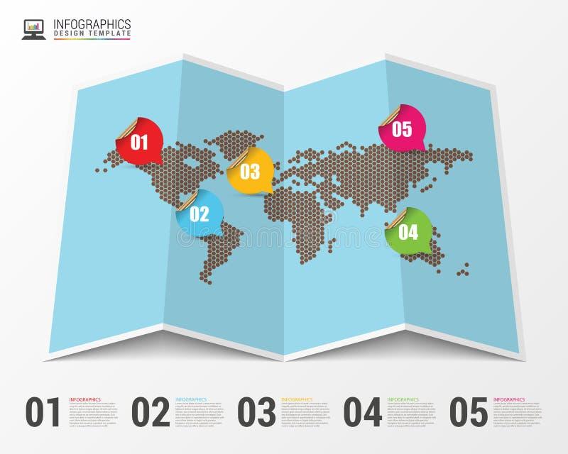 Карта мира с infographic элементами конструкция самомоднейшая вектор иллюстрация штока