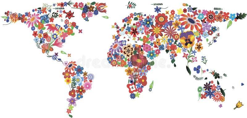 Карта мира цветка иллюстрация вектора
