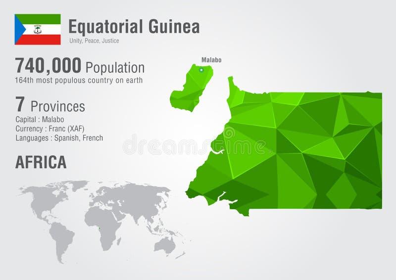 Карта мира Экваториальной Гвинеи с текстурой диаманта пиксела стоковая фотография