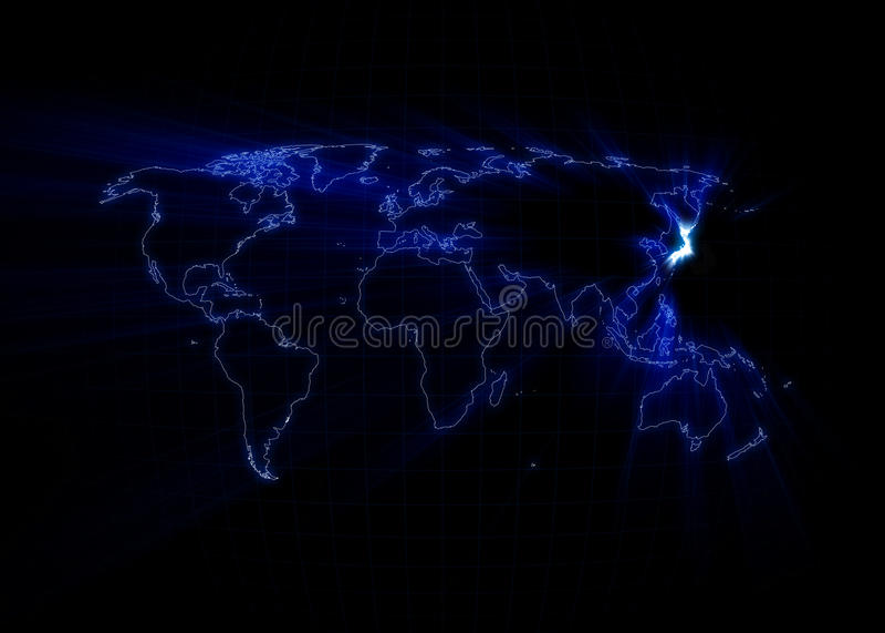 Карта мира - япония иллюстрация вектора