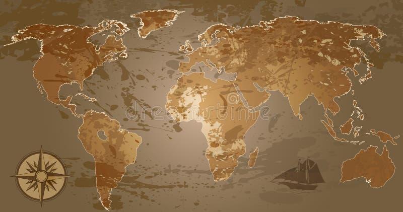Карта мира Grunge бесплатная иллюстрация