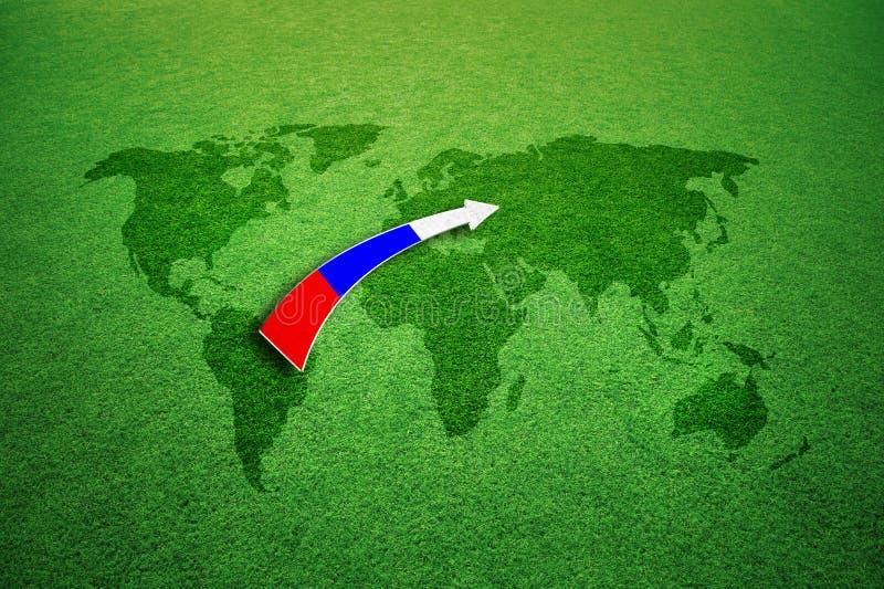 Карта мира playfield футбола с стрелкой флага России иллюстрация штока