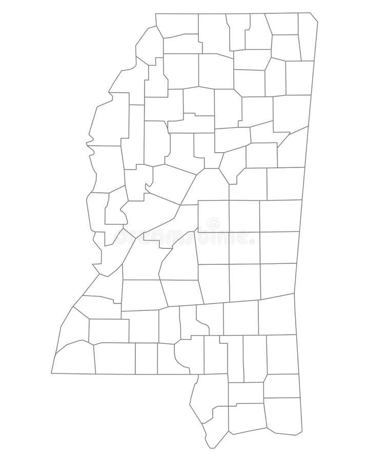 Карта Миссиссипи иллюстрация вектора