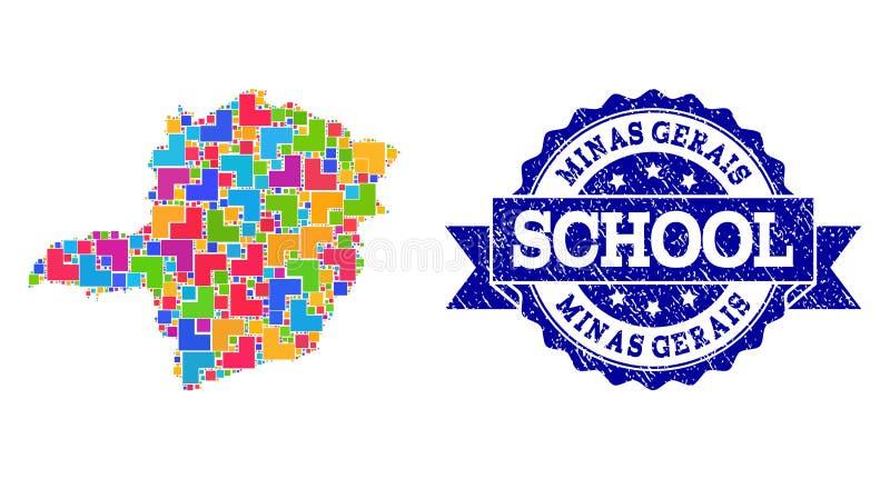 Карта мозаики коллажа уплотнения государства Gerais мин и школы Grunge иллюстрация штока