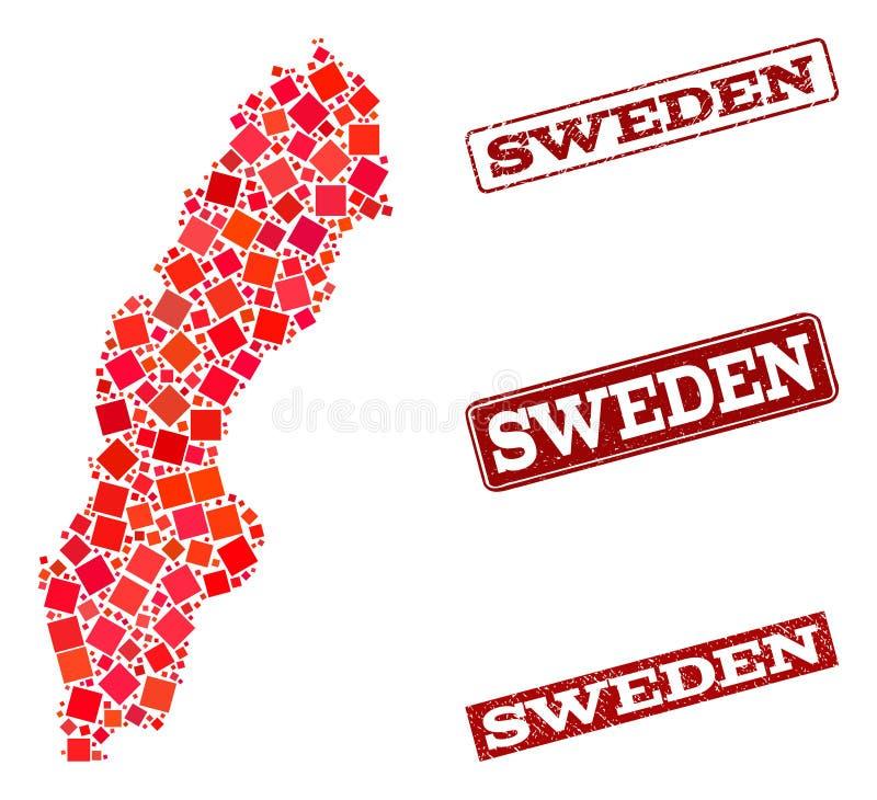 Карта мозаики состава уплотнения Швеции и школы Grunge иллюстрация вектора