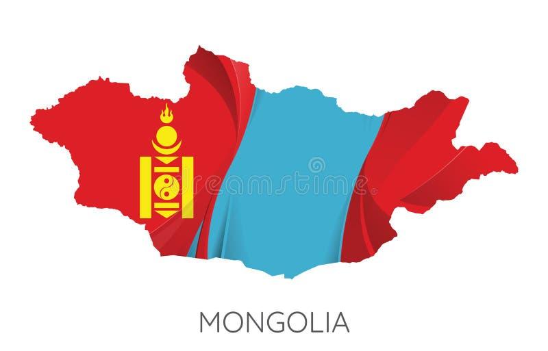 карта Монголия иллюстрация вектора