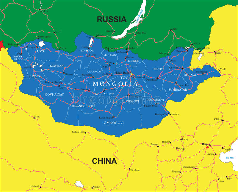 Карта Монголии бесплатная иллюстрация