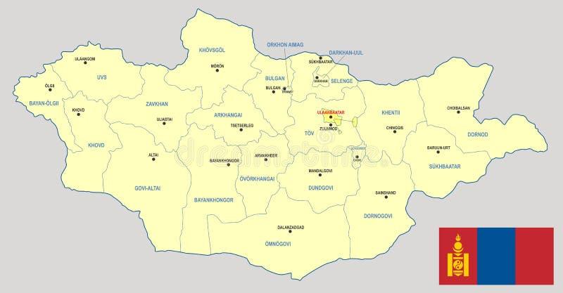 Карта Монголии иллюстрация вектора