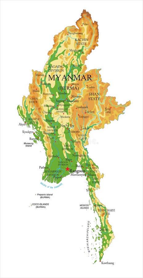 Карта Мьянмы физическая иллюстрация штока