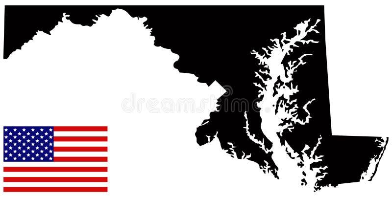 Карта Мэриленда с государством флага США в области Средний-Атлантики Соединенных Штатов бесплатная иллюстрация
