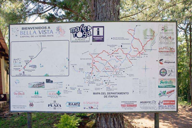 Карта на перспективе Bella, Парагвай миссий и Itapua иезуита стоковые фото