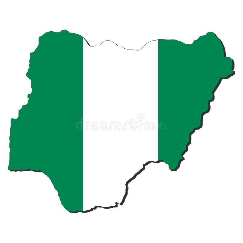 карта Нигерия флага иллюстрация вектора