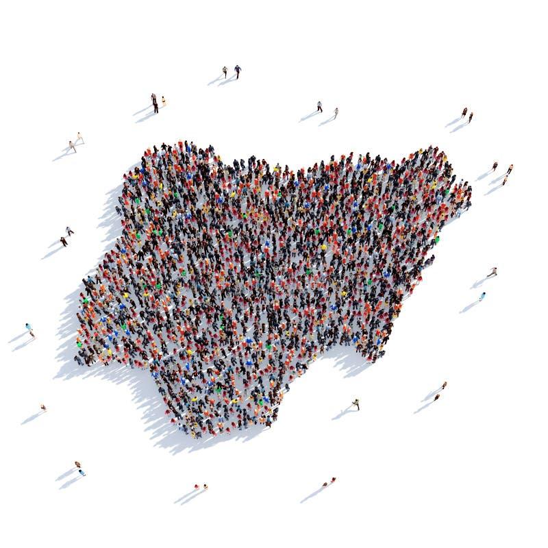 Карта Нигерия формы группы людей стоковые фотографии rf