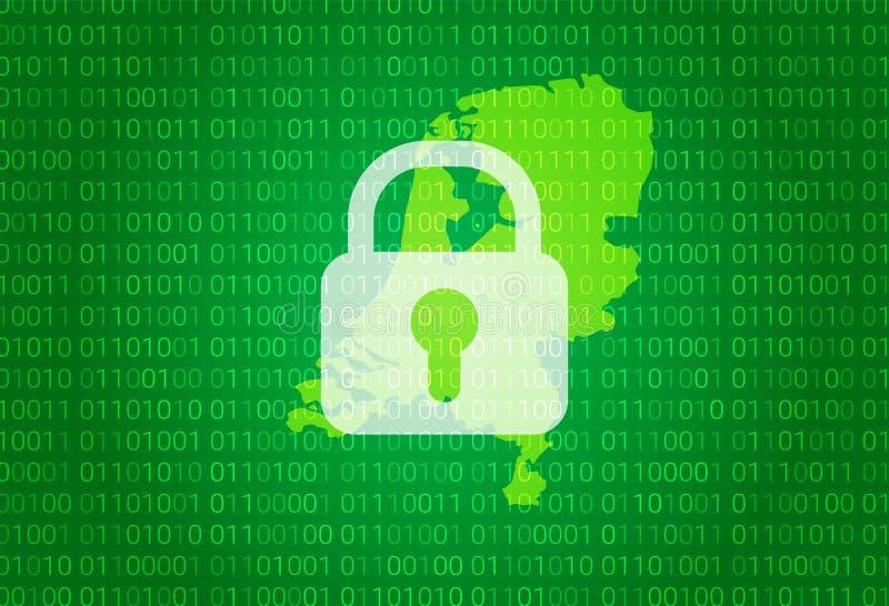 Карта Нидерландов иллюстрация с предпосылкой замка и бинарного кода интернет преграждая, нападение вируса, уединение защищает бесплатная иллюстрация