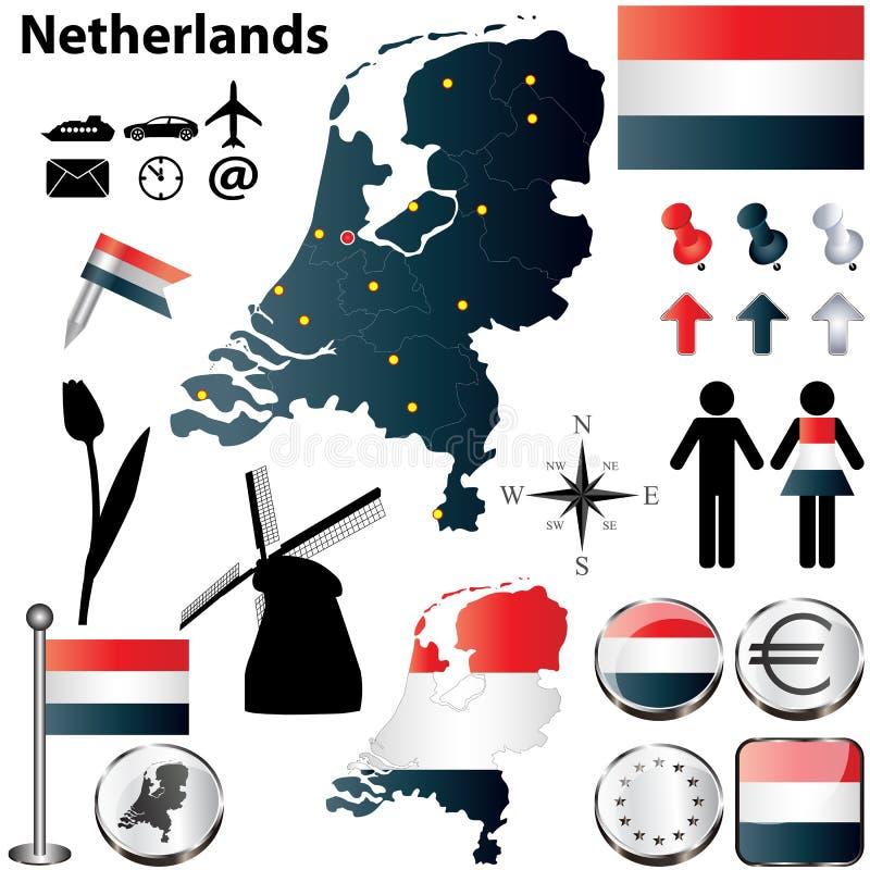 Карта Нидерландов иллюстрация вектора