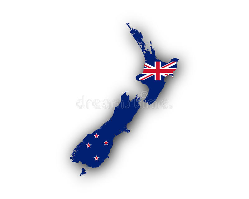 карта Новая Зеландия флага иллюстрация вектора