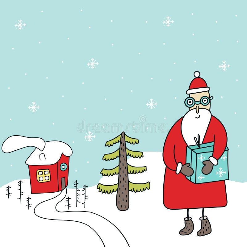 Карта Нового Года - Санта с подарком, меньшим домом и рождественской елкой бесплатная иллюстрация