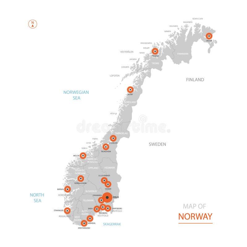 Карта Норвегии с административными округами иллюстрация штока