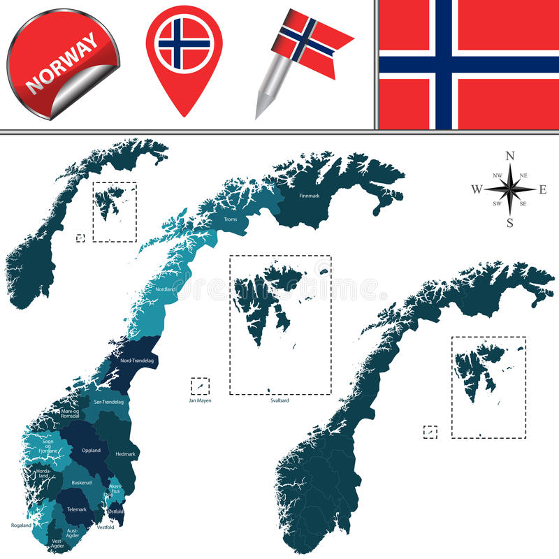 карта Норвегия иллюстрация штока