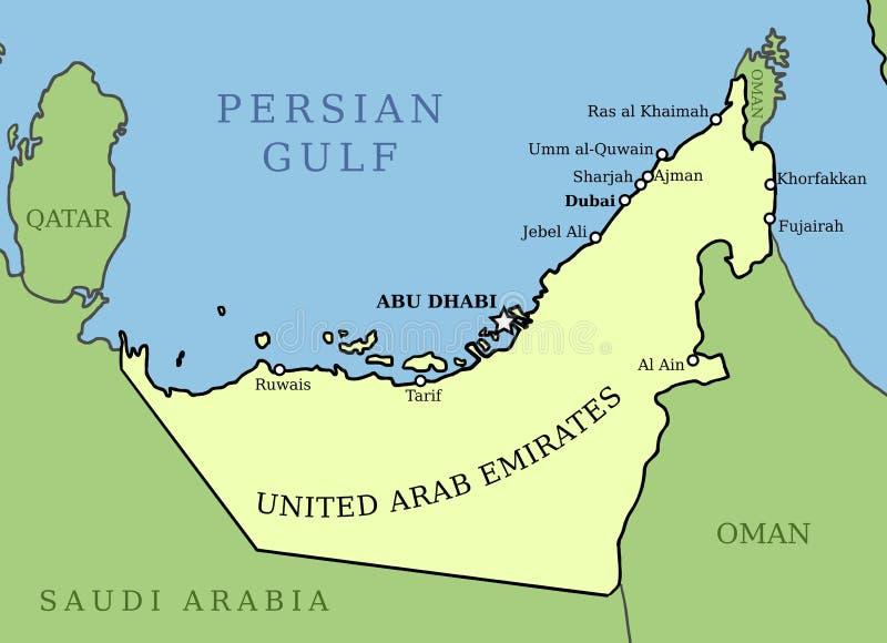 Карта ОАЭ иллюстрация вектора