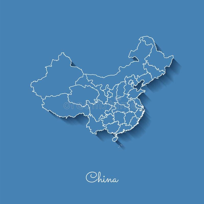 Карта области Китая: синь с белым планом и бесплатная иллюстрация