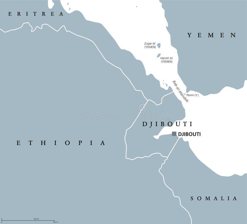 Карта области пролива Bab el Mandeb политическая иллюстрация вектора