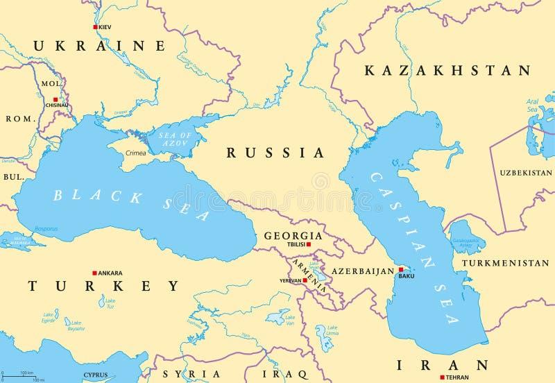 Карта области Чёрного моря и Каспийского моря политическая бесплатная иллюстрация