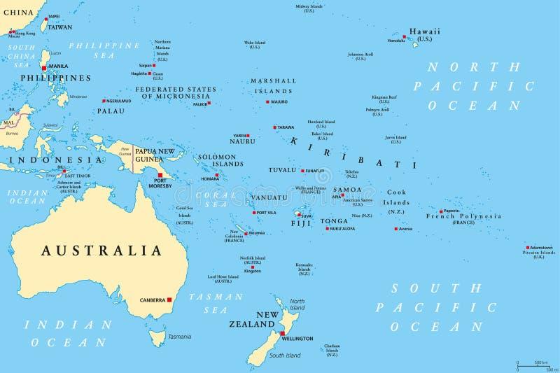 Карта Океании политическая иллюстрация вектора