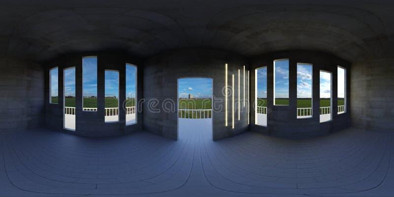 Карта окружающей среды HDRI, абстрактная сферически предпосылка панорамы, пустая квартира с панорамным взглядом 3d equirectangula иллюстрация вектора