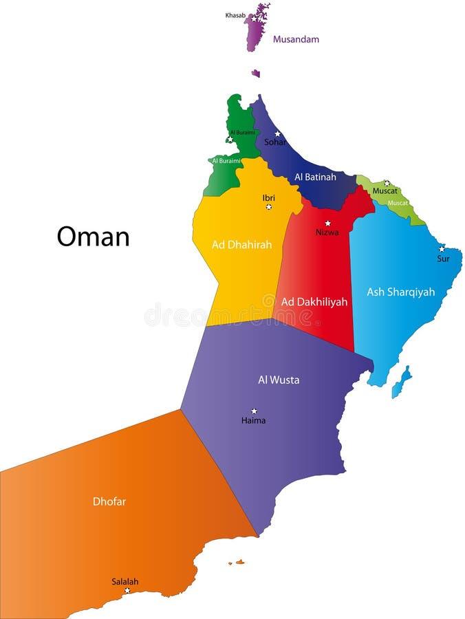 Карта Омана иллюстрация вектора