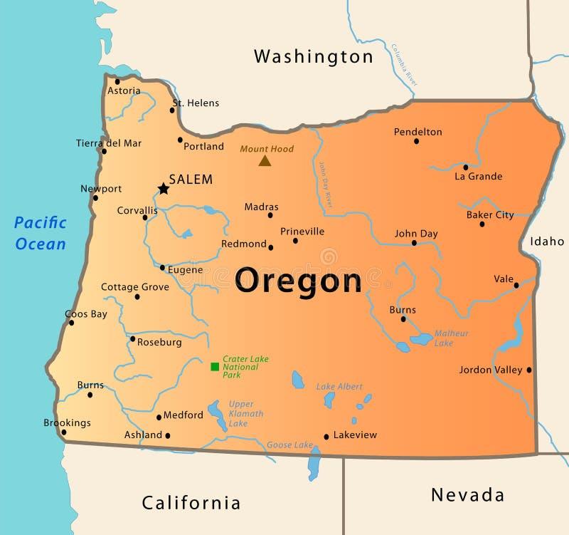 карта Орегон бесплатная иллюстрация
