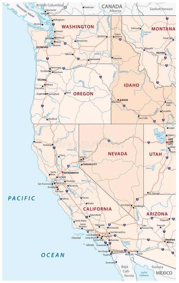 Карта дорог, политических и административных западных Соединенных Штатов Америки иллюстрация вектора