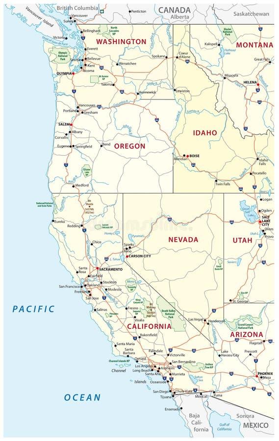 Карта дорог, политических и административных западных Соединенных Штатов Америки с национальными парками иллюстрация вектора