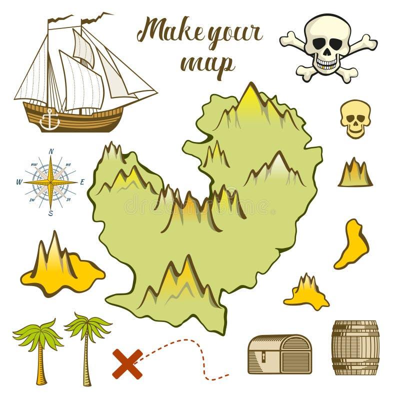 Карта острова - игры для детей с кораблем, островом иллюстрация штока