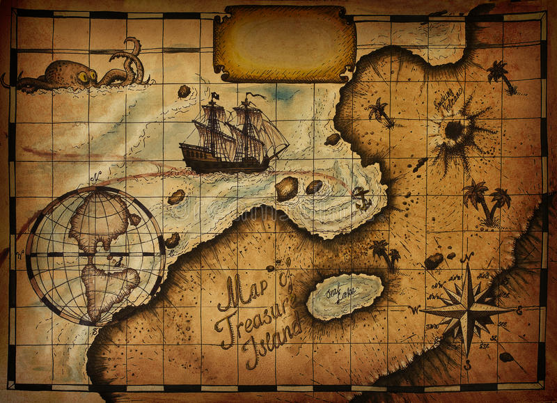 Карта острова сокровища бесплатная иллюстрация