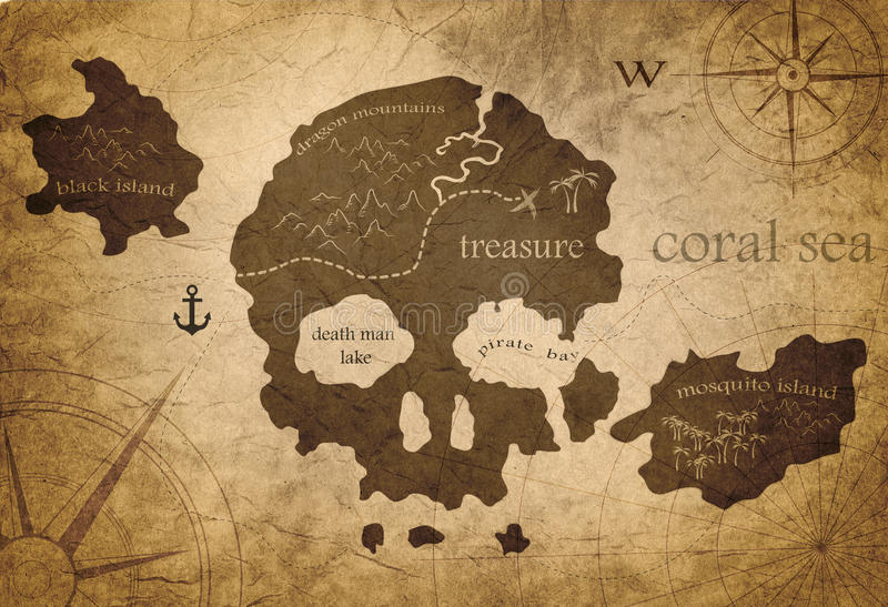 Карта острова черепа иллюстрация штока