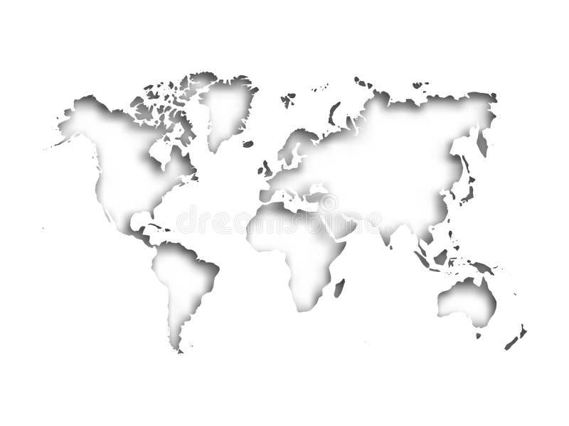 Карта отрезка мира в бумагу при внутренняя тень изолированная на серой предпосылке Иллюстрация вектора с влиянием 3D бесплатная иллюстрация