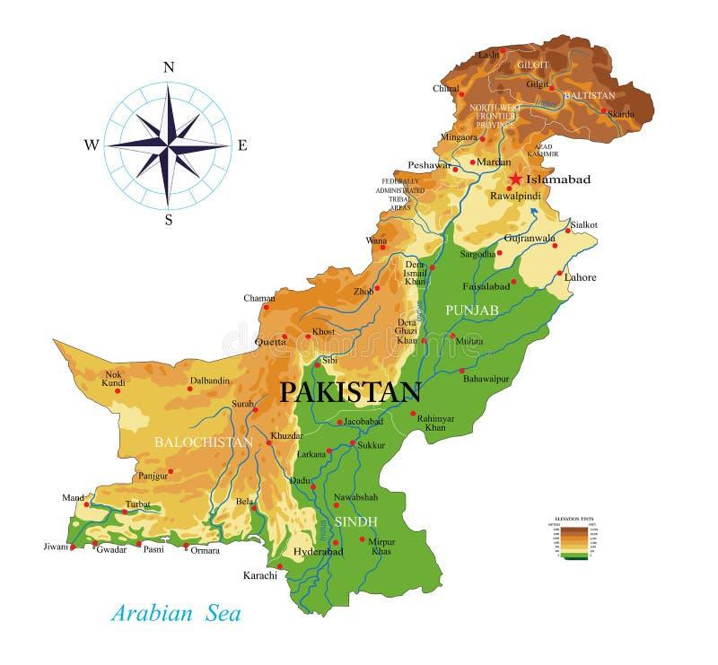 Карта Пакистана физическая иллюстрация вектора