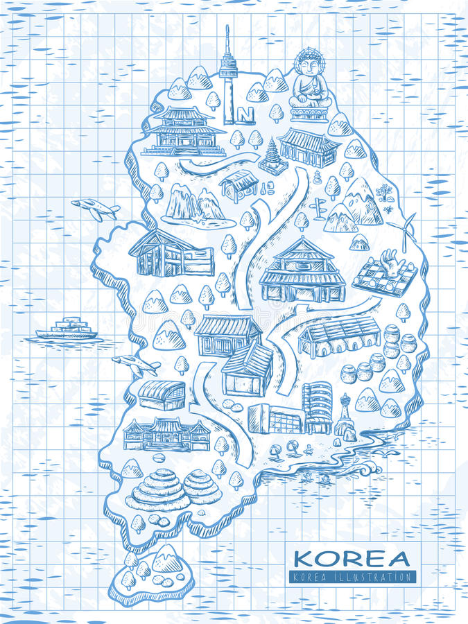 Карта перемещения Южной Кореи иллюстрация штока