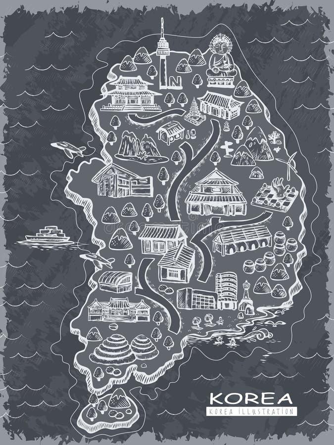 Карта перемещения Южной Кореи иллюстрация вектора