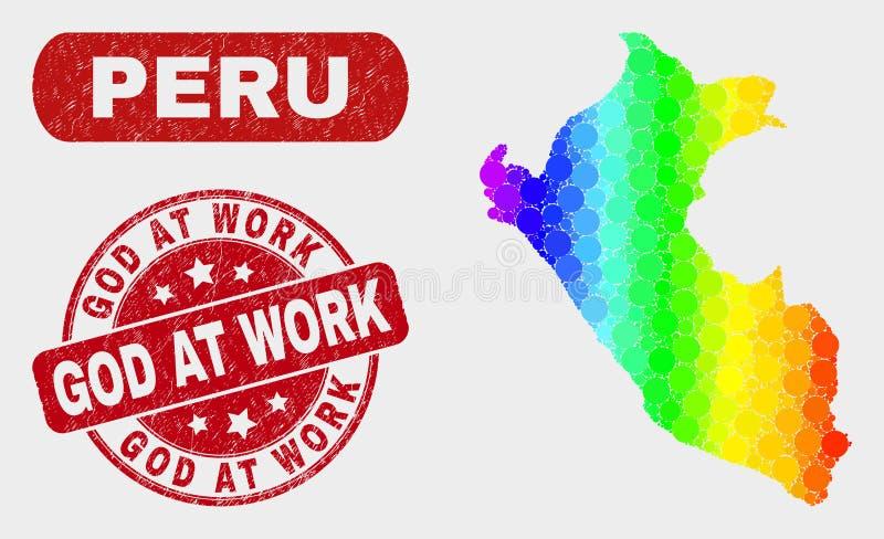 Карта Перу мозаики спектра и бог дистресса на уплотнении работы иллюстрация штока