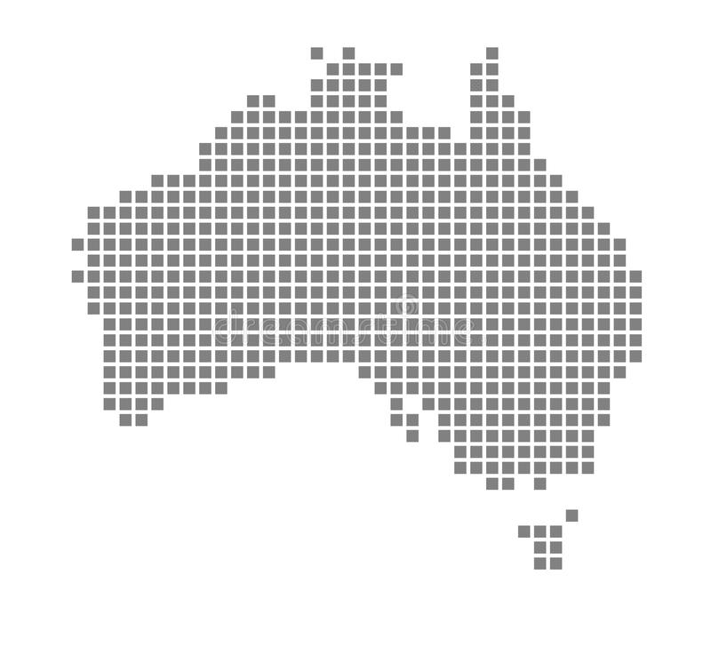 Карта пиксела Австралии Vector поставленная точки карта Австралии изолировал на белой предпосылке Абстрактная машинная графика ка бесплатная иллюстрация