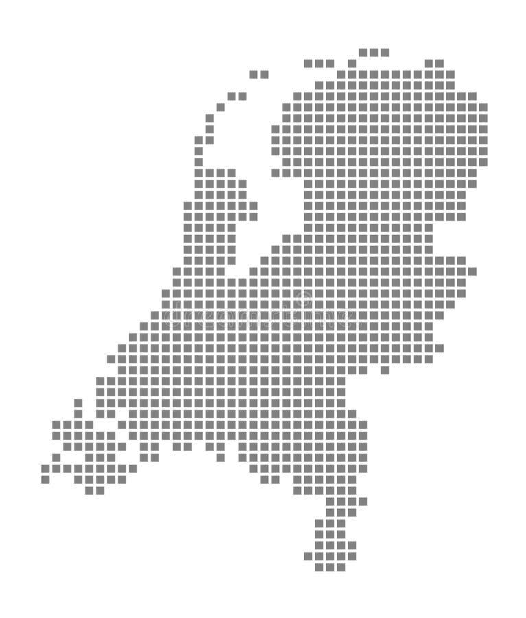 Карта пиксела Нидерландов Vector поставленная точки карта Нидерландов изолировал на белой предпосылке Абстрактная машинная график иллюстрация вектора