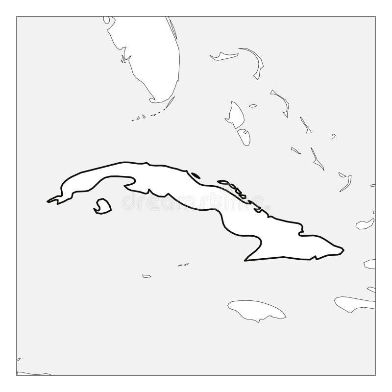 Карта плана черноты Кубы толстого выделила с ближними странами иллюстрация штока