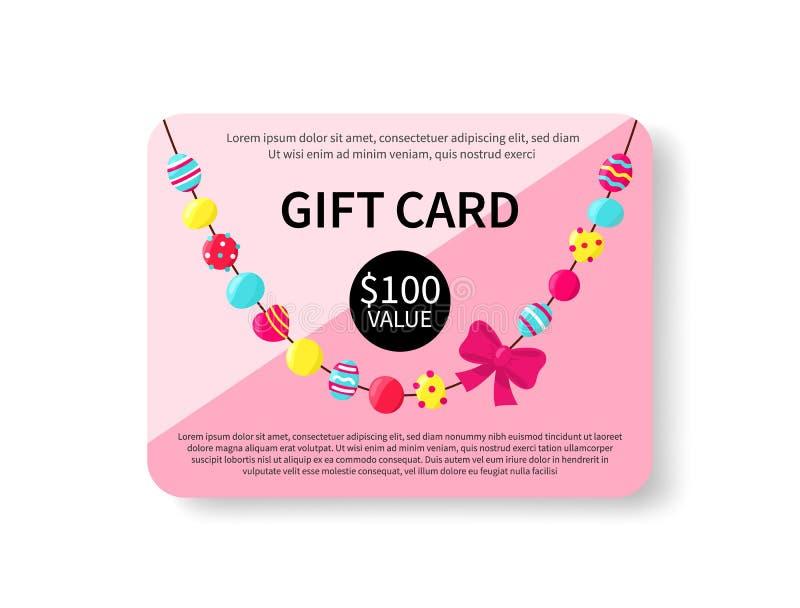 Карта подарка с красочными шариками на белой предпосылке Accessorize подарочный сертификат Шаблон дизайна талона Покупки иллюстрация штока