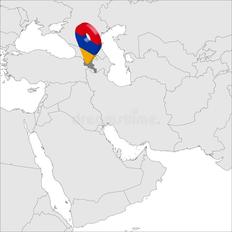 Карта положения Армении на карте Азии штырь положения отметки карты флага 3d Армении Высококачественное государство карты Армении иллюстрация вектора