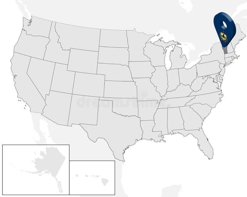 Карта положения государства Вермонта на карте США штырь положения отметки карты флага Вермонта государства 3d Высококачественная  иллюстрация штока